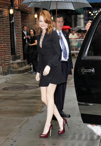 Emma Stone visits the Late Zeigen with David Letterman in NYC, Aug 3