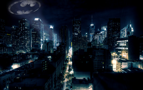 batman wallpaper with a business district, a skyscraper, and a jalan, street entitled Gotham City