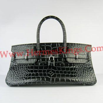 Hermes Birkin 42CM crocodile pattern Handbags 6109 black silver