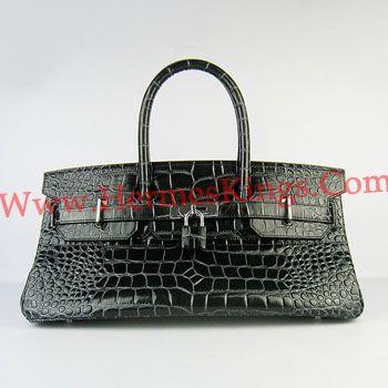 Hermes Birkin 42CM buaya pattern Handbags 6109 black silver
