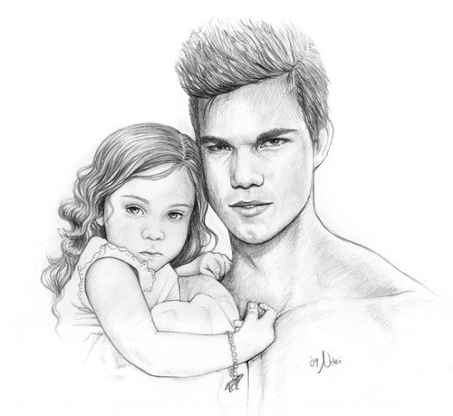 Jacob Black and Renesmee Cullen 壁纸 possibly with skin and a portrait titled Jake & Nessie.