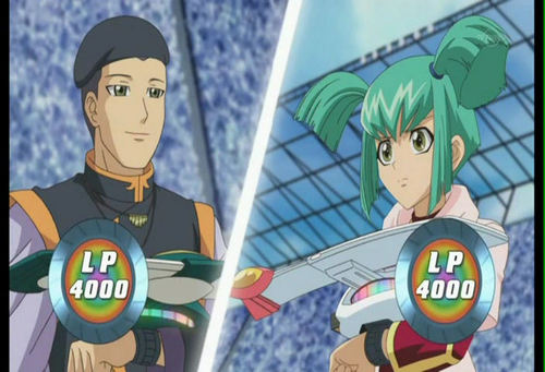 Luna from Yu-Gi-Oh! 5Ds वॉलपेपर with ऐनीमे entitled Luna versus Professor Frank