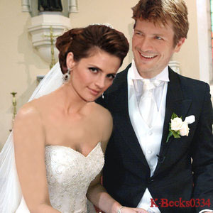 Kate Beckett karatasi la kupamba ukuta with a bridesmaid titled Maried . Stana and Nathan