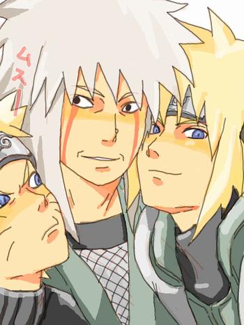 Minato, jiraiya & Naruto