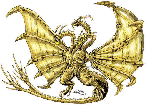Godzilla 바탕화면 probably containing a fleur de lis, a sand dollar, and a 만, 베이 scallop entitled Neo Ghidorah