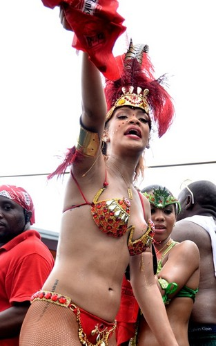 Rihanna out for Barbados' Kadoomant Tag Parade (August 1).