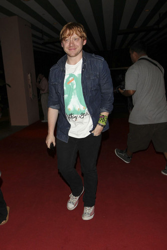 Rupert Grint arrives back to his hotel with some friends including his Harry Potter co-star Tom