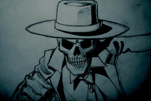 Skulduggery Pleasant wallpaper containing a snap brim hat, a campaign hat, and a sombrero titled Skulduggery