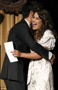 Taylor Lautner and Lea Michele at the HFPA Luncheon August 4