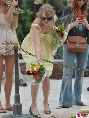 Taylor nhanh, swift Lays hoa Down on Arlington National Cemetary Graves