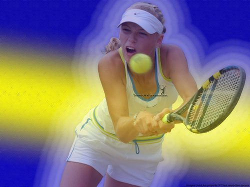 WTA wallpaper with a tennis racket, a tennis player, and a tennis pro entitled Caroline Wozniacki in Beam Of Light