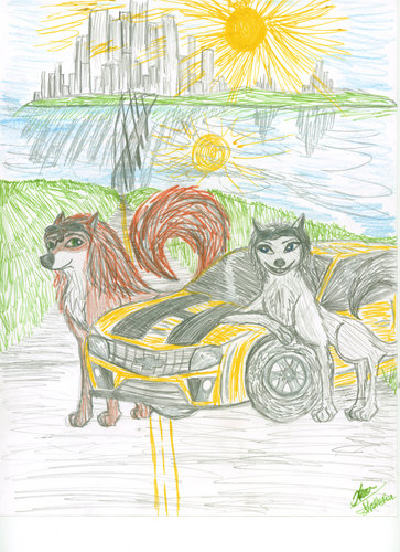 alphaman ( garth ) and lilly's hot rod द्वारा jennawolf48
