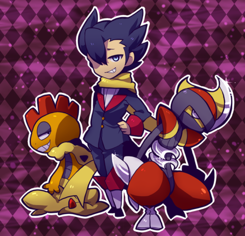 awww!!! Grimsley and his Pokemon scrafty and bisharp!!!