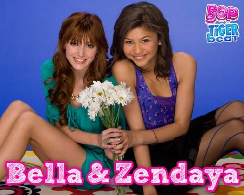 Zendaya and Bella Thorne wallpaper probably containing a bridesmaid and a portrait called bella and zendaya