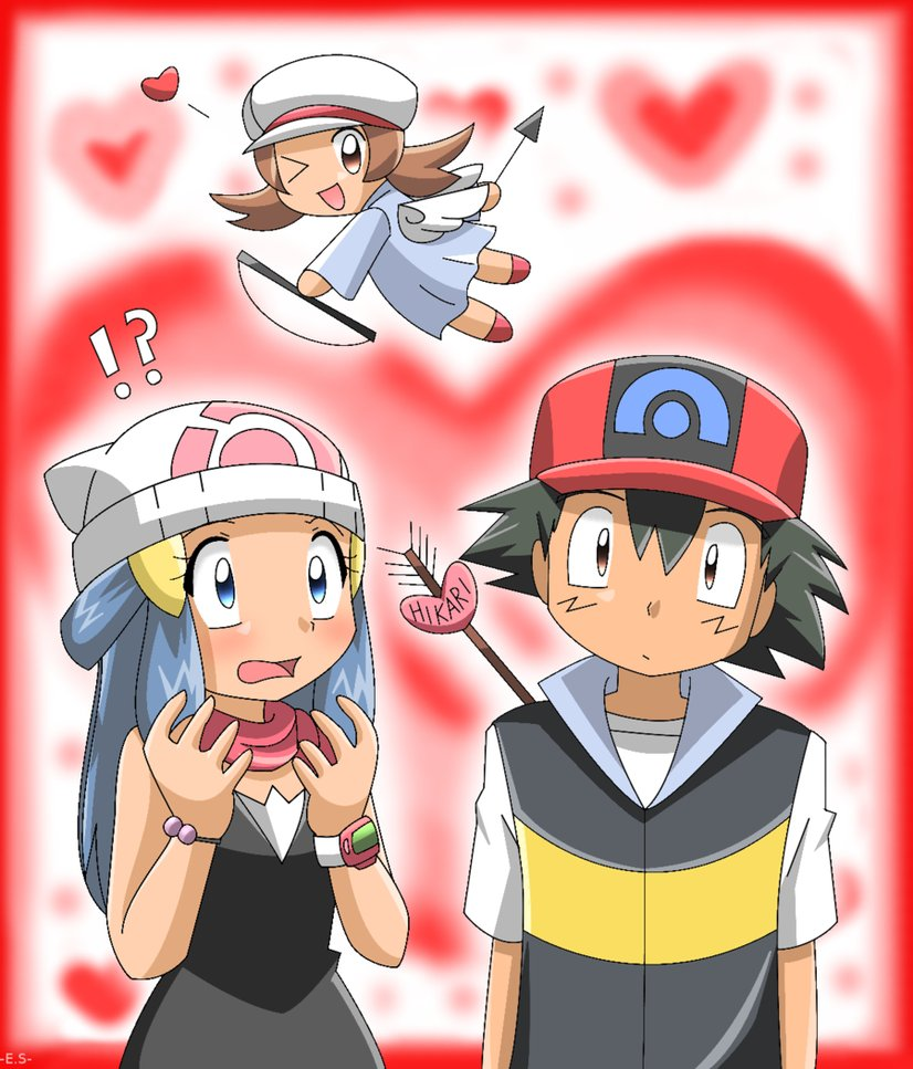 Pokemon Ash and Dawn Kiss