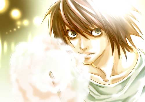 L wallpaper with a portrait titled lawliet