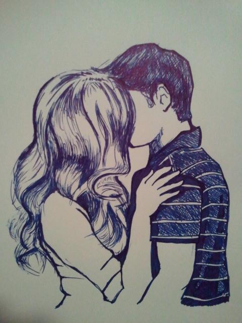 Рисунок целующаяся пара