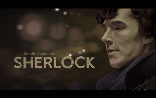 Sherlock Holmes پیپر وال possibly with a sign and a portrait entitled Benedict Cumberbatch as Sherlock Holmes