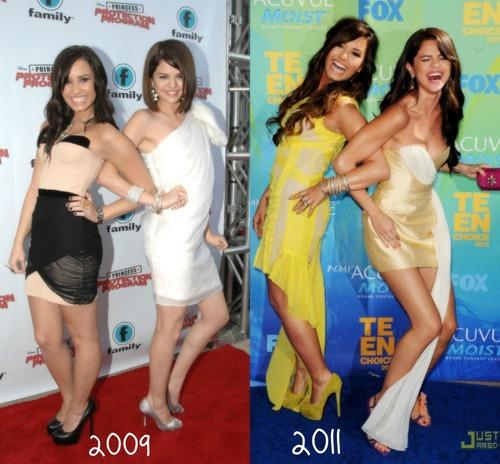 Demi Lovato and Selena Gomez Pose
