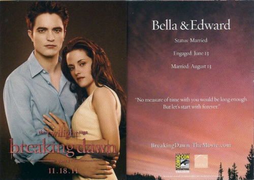 Edward and Bella Promotional Breaking Dawn Card shown at Comic Con