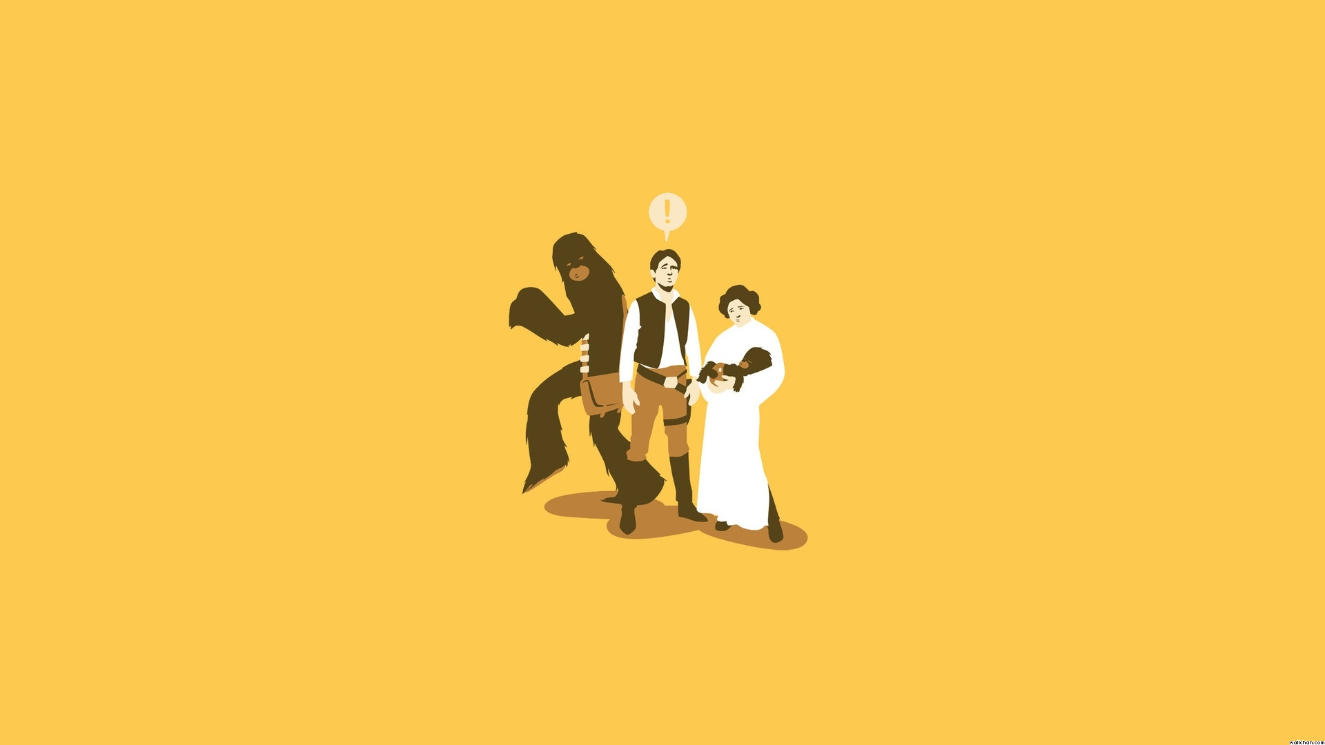 Funny Han, Leia Chewie Wallpaper
