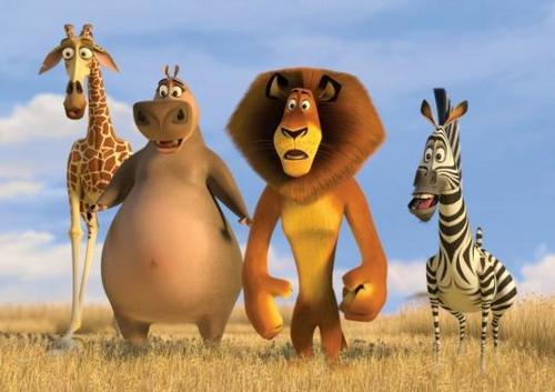 Gloria, Melman, Alex and Marty