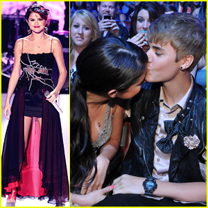 Justin Bieber and Selena Gomez wallpaper containing a bridesmaid and a dinner dress called Kiss