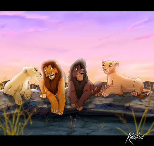 Kovu, Kiara, Simba and Nala