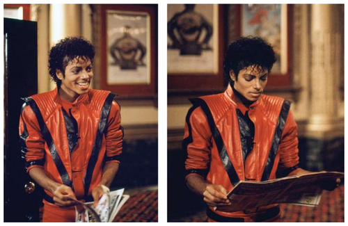 MJ on set of Thriller