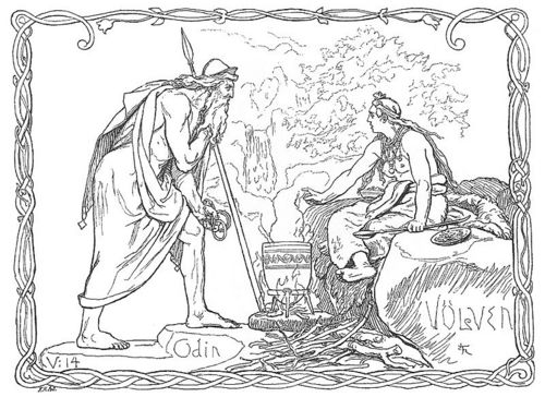 Odin and the Völva - norse-mythology Photo