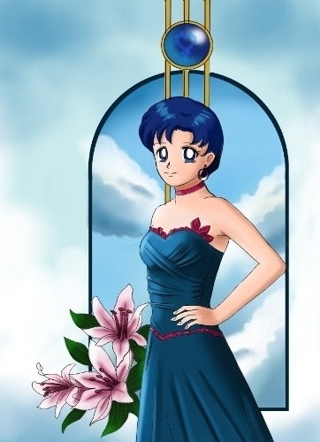 Sailor Mercury wallpaper probably with a gown, a dinner dress, and a balldress called Sailor Mercury/Ami Mizuno