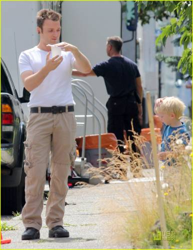 Seth Gabel and his son, Theo, On The Set of Fringe - August 4th, 2011