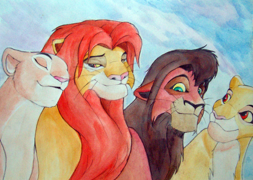 Simba, Kovu, Kiara and Nala