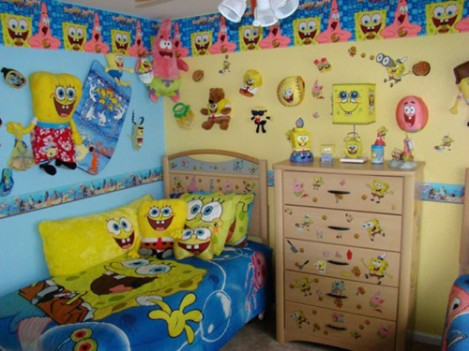 Spongebob Squarepants kertas dinding probably with a dressing meja, jadual entitled SpongeBob Bedroom For Kids