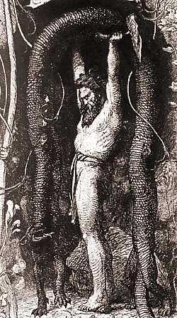 Thor lifting the Utgard cat