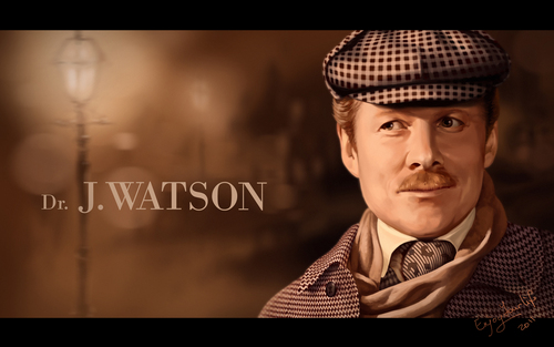 Sherlock Holmes wallpaper probably with a business suit called V. Solomin as Dr. J. Watson