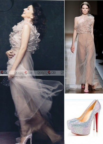 Valentino Spring 2011 nude gown, Christian Louboutin glitter pumps