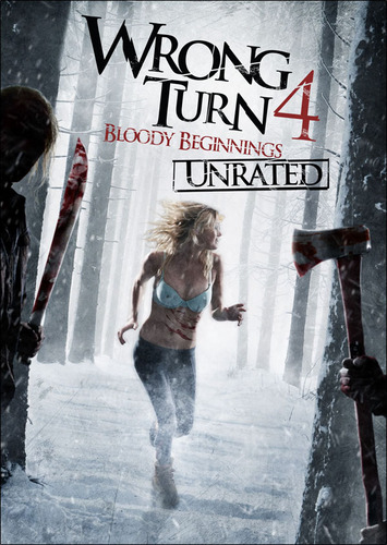 Horrorfilme Hintergrund probably with a sign entitled Wrong Turn 4: Bloody Beginnings