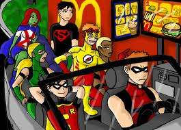 Young Justice at McDonalds! - young-justice Fan Art