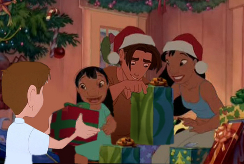 disney crossover achtergrond entitled lilo, nani, hogarth and jim christmas