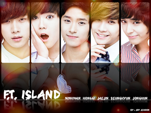 F.T. Island wolpeyper possibly with a holding cell and a portrait titled <3 F.T.ISLAND <3