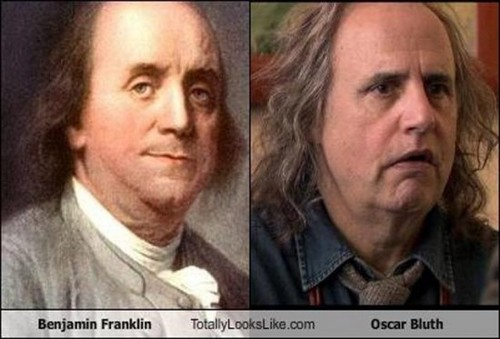 "Arrested Development wallpaper entitled ""Celebrity"" Look-alikes: Ben Franklin and Oscar Bluth"