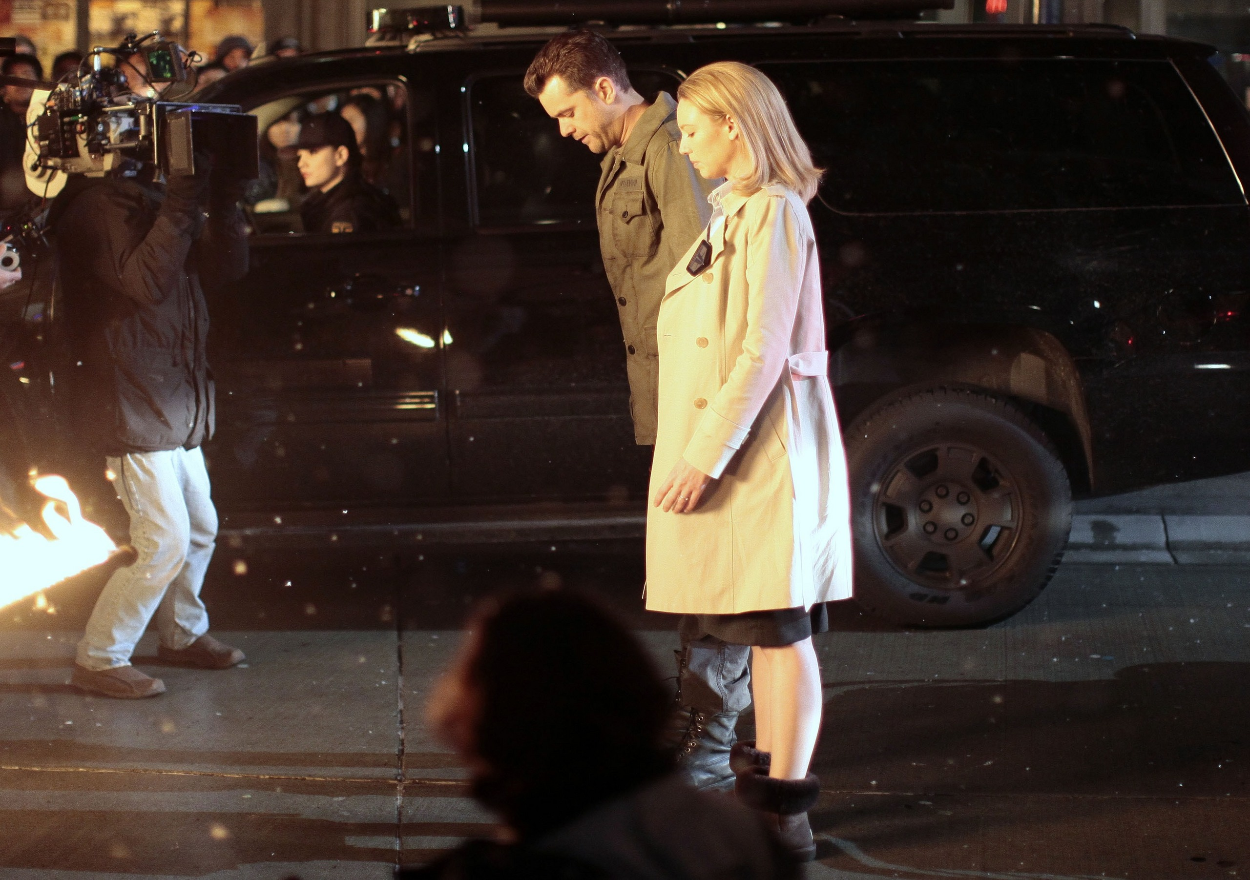 Anna and Josh on set