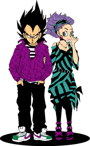 Bulma and Vegeta as Goths