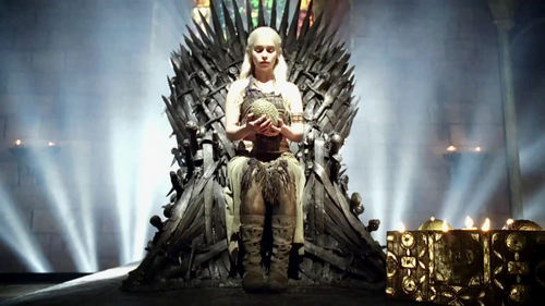 Daenerys Targaryen on Iron Throne