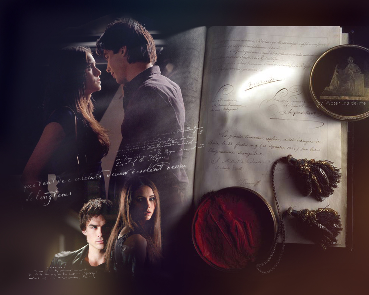 Damon & Elena kertas dinding