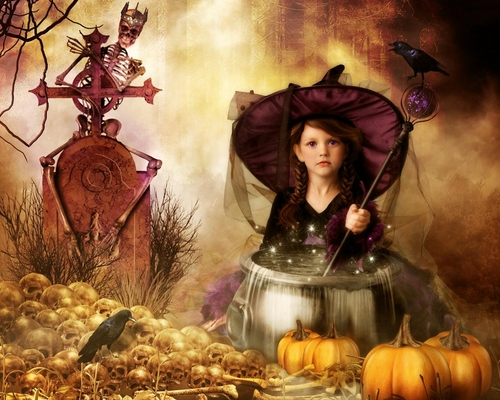 Halloween wallpaper possibly with a holiday dinner called Double Bubble, Toil and Trouble
