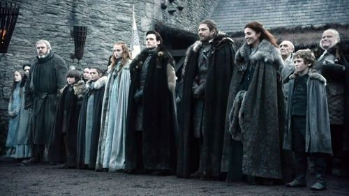 Eddard Stark with family
