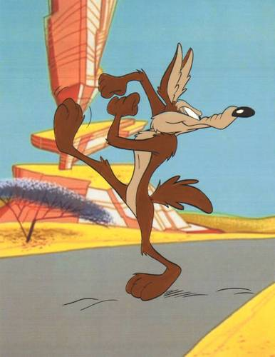 Hand Painted Road Runner & Coyote cel