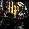Harry Potter Logo with Hogwarts Background